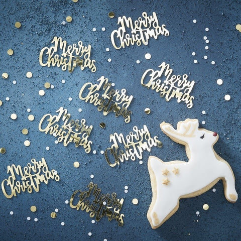 Gold Script Merry Christmas Confetti - Ginger Ray - Party Touches