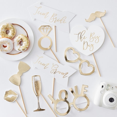 Wedding Gold Foil Photo Booth Props - Ginger Ray - Party Touches