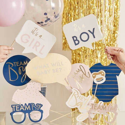 Gold Foiled Gender Reveal Party Photo Booth Props - Ginger Ray - Party Touches