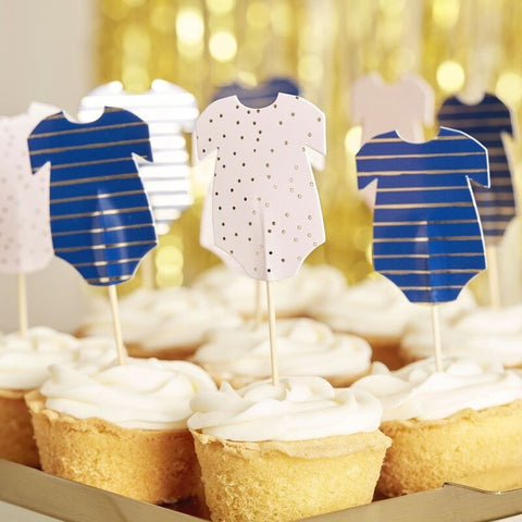 Pink and Navy Babygrow Baby Shower Cupcake Toppers - Ginger Ray - Party Touches