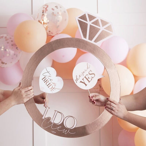 Rose Gold Ring Hen Party Photo Booth Frame - Ginger Ray - Party Touches