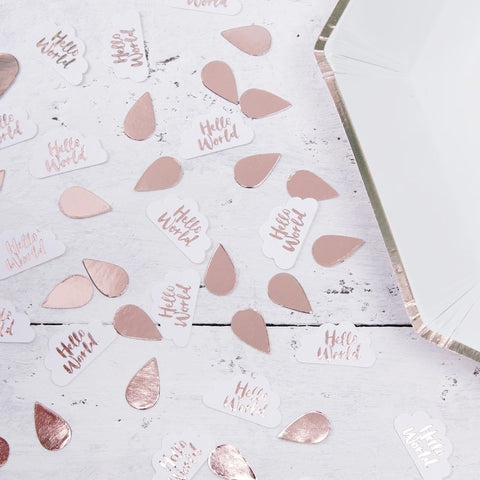 Hello World Rose Gold & Clouds Table Confetti - Ginger Ray - Party Touches