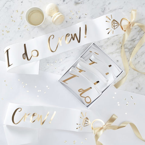 White and Gold Foiled I Do Crew Sashes - Ginger Ray - Party Touches