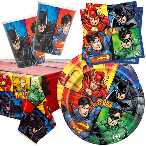 Justice League Party Tableware Bundle - 8 Guests - Unique Party - Party Touches