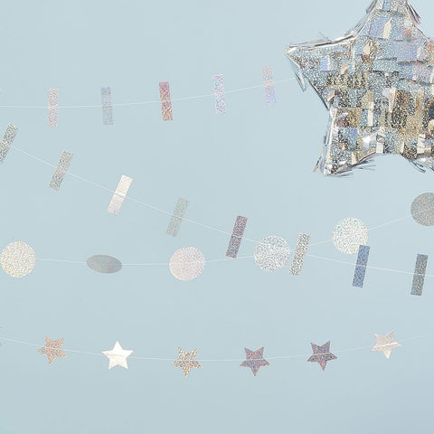 Holographic Mixed Pack of Garlands - Ginger Ray - Party Touches