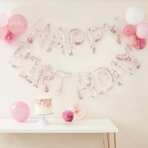 Clear Foil & Confetti Happy Birthday Balloons Banner - Ginger Ray - Party Touches