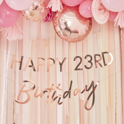 Customisable Milestone Rose Gold Birthday Banner - Ginger Ray - Party Touches