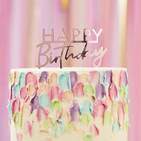 Pink Acrylic Happy Birthday Cake Topper - Ginger Ray - Party Touches