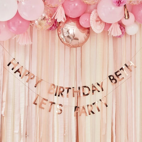 Rose Gold Personalised Birthday Banner - Ginger Ray - Party Touches