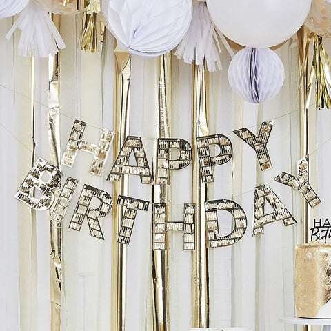 Gold Fringe Happy Birthday Banner - Ginger Ray - Party Touches