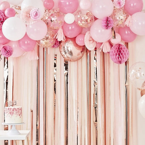Blush and Peach Balloon and Fan Garland Party Backdrop - Ginger Ray - Party Touches