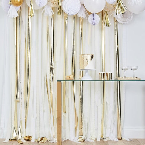 Gold Metallic Party Streamers Backdrop - Ginger Ray - Party Touches