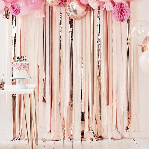 Pink & Rose Gold Party Streamers Backdrop - Ginger Ray - Party Touches