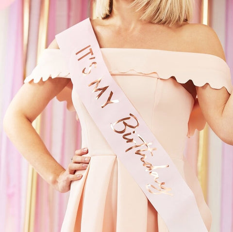 Its My Birthday Pink Ombre Rose Gold Sash - Ginger Ray - Party Touches