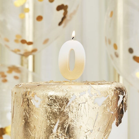 Gold Ombre 0 Number Birthday Candle - Ginger Ray - Party Touches