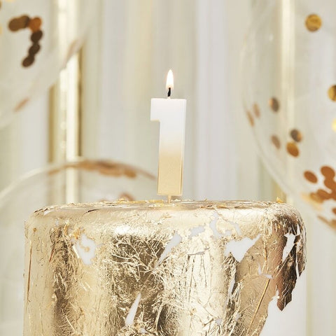 Gold Ombre 1 Number Birthday Candle - Ginger Ray - Party Touches