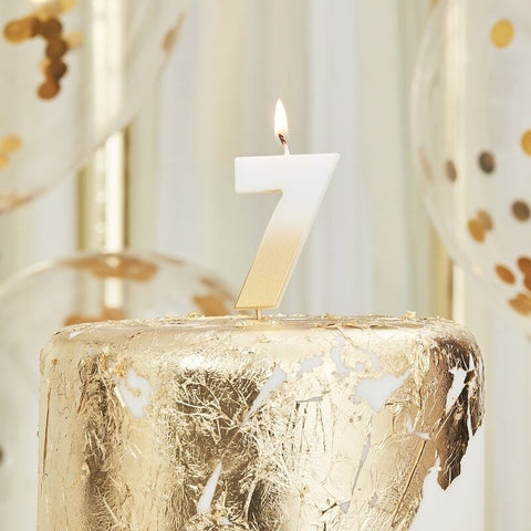 Gold Ombre 7 Number Birthday Candle - Ginger Ray - Party Touches