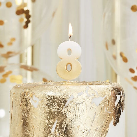 Gold Ombre 8 Number Birthday Candle - Ginger Ray - Party Touches