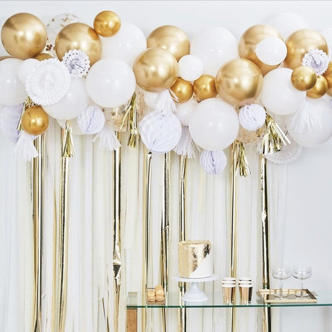 Gold Balloon and Fan Garland Party Backdrop - Ginger Ray - Party Touches