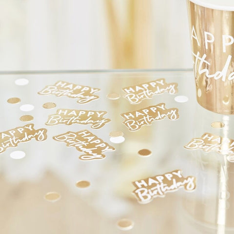 Gold and White Happy Birthday Confetti - Ginger Ray - Party Touches