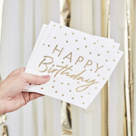 Gold Foiled Happy Birthday Paper Napkins - Ginger Ray - Party Touches
