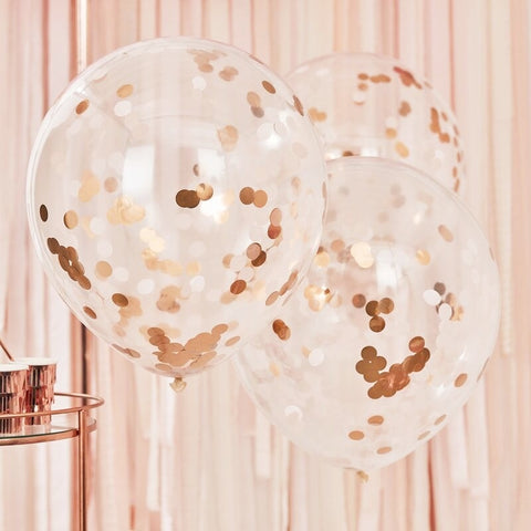 Giant Blush Rose Gold Confetti Balloons