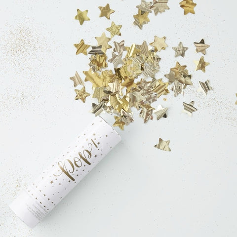 Gold Compressed Air Confetti Cannon Shooter - Set of 3 - Ginger Ray - Party Touches