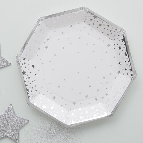 Silver Foiled Star Paper Plates - Ginger Ray - Party Touches