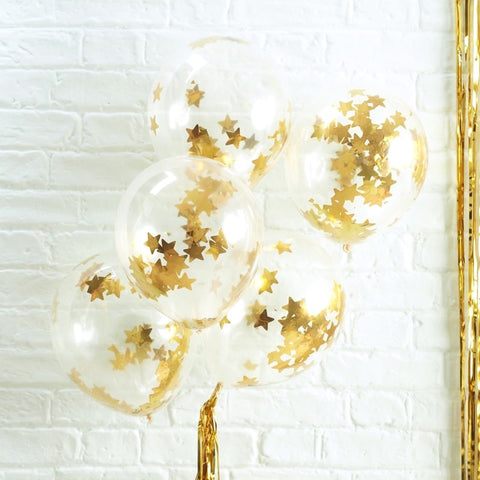 Gold Star Shaped Confetti Filled Balloons - Ginger Ray - Party Touches