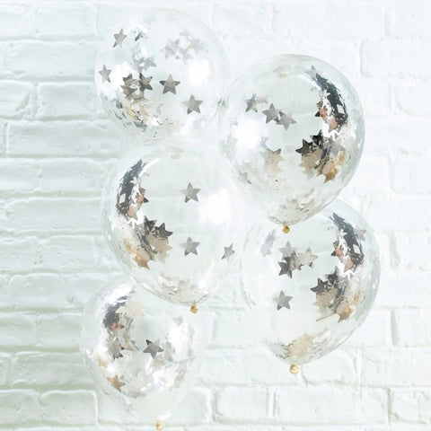 Silver Star Shaped Confetti Filled Balloons - Ginger Ray - Party Touches