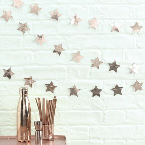 Rose Gold Star Bunting Garland - Ginger Ray - Party Touches