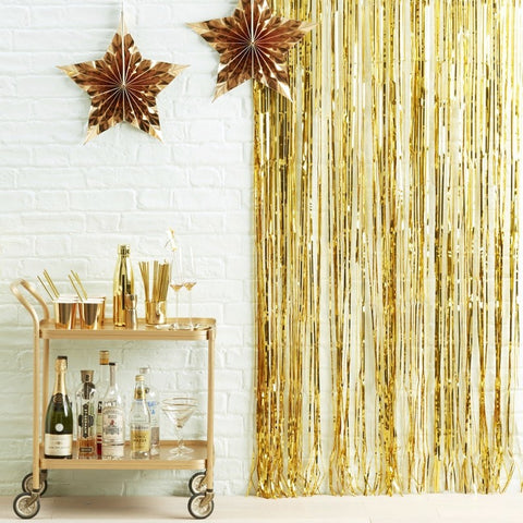 Gold Foil Fringe Curtain Decoration - Ginger Ray - Party Touches