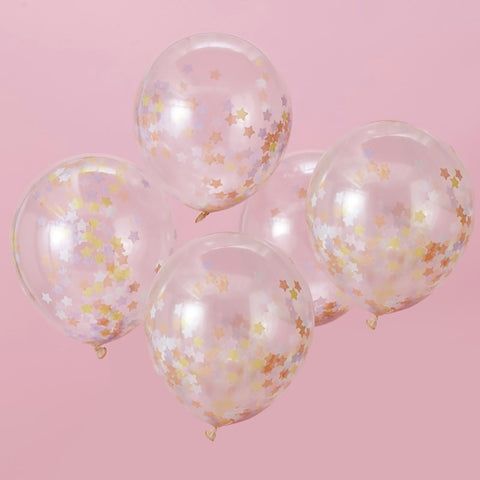 Gold Star Confetti Balloons - Ginger Ray - Party Touches