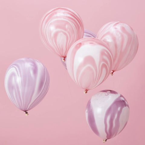 Pink and Purple Marble Balloons - Ginger Ray - Party Touches