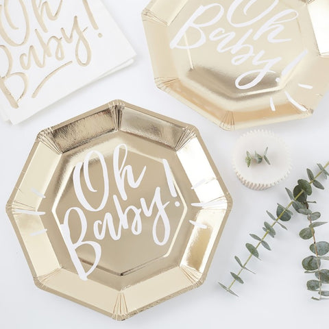 Gold Foiled Oh Baby! Paper Plates - Ginger Ray - Party Touches