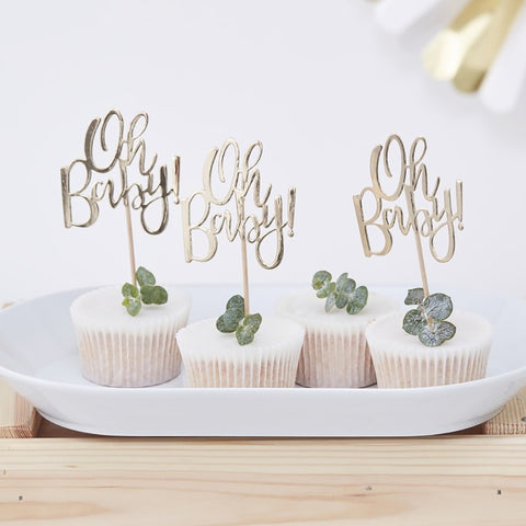 Gold Foiled Oh Baby! Cupcake Toppers - Ginger Ray - Party Touches