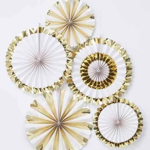 Gold Foiled Fan Decorations - Ginger Ray - Party Touches