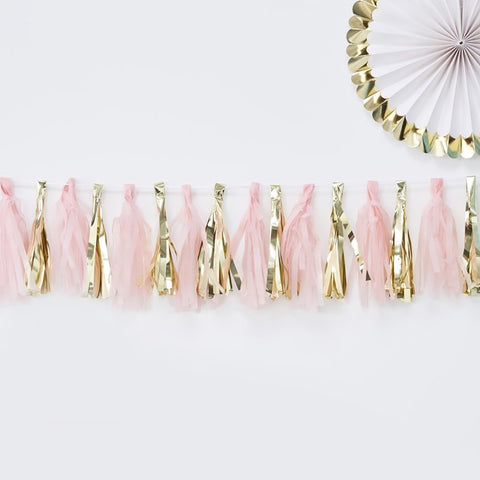 Pink and Gold Tassel Garland - Ginger Ray - Party Touches