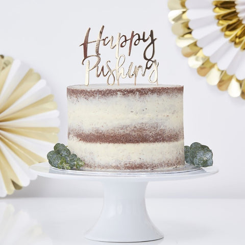 Gold Foiled Happy Pushing Cake Topper - Ginger Ray - Party Touches