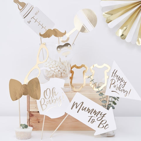 Gold Foiled 'Oh Baby' Photo Booth Props - Ginger Ray - Party Touches