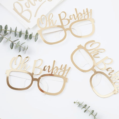 Gold Foiled Oh Baby! Fun Glasses - Ginger Ray - Party Touches