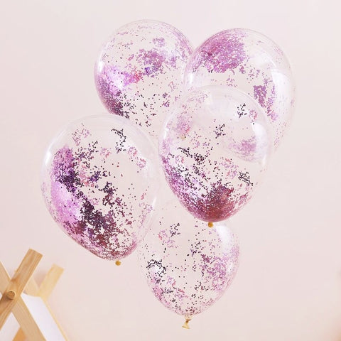 Pink Pamper Party Glitter Balloons - Ginger Ray - Party Touches