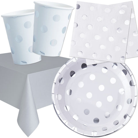 Silver Polka Dot Foil Party Tableware Bundle - 8 Guests - Ginger Ray - Party Touches