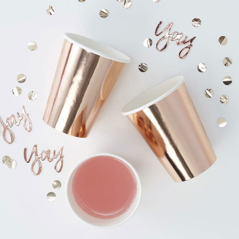 Rose Gold Foiled Paper Cups - Ginger Ray - Party Touches