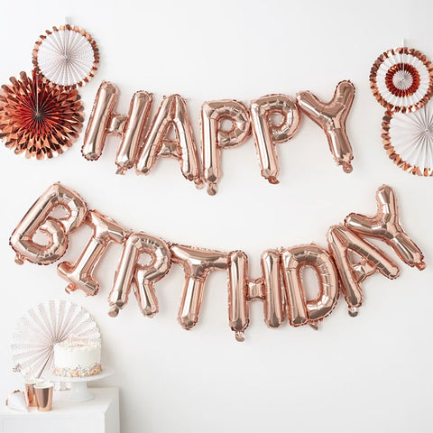 Rose Gold Happy Birthday Balloon Bunting - Ginger Ray - Party Touches