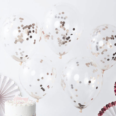 Rose Gold Confetti Balloons - Ginger Ray - Party Touches
