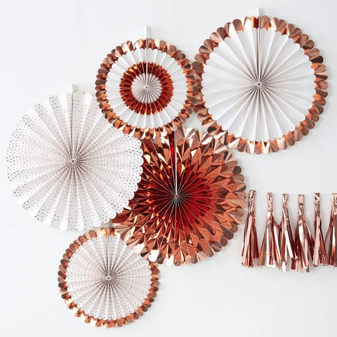 Rose Gold Fan Decorations - Ginger Ray - Party Touches