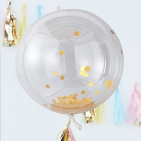Large Gold Confetti Orb Balloons - Ginger Ray - Party Touches