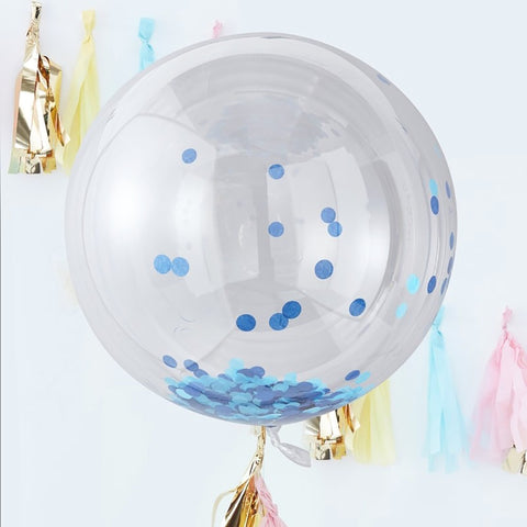 Large Blue Confetti Orb Balloons - Ginger Ray - Party Touches