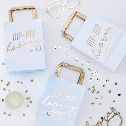 Gold Foiled Hip Hip Hooray Blue Party Bags - Ginger Ray - Party Touches